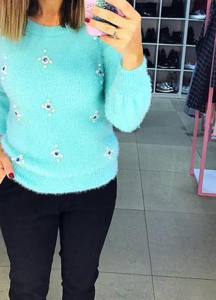 Мятный свитер травка ангора