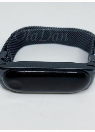 Металлический ремешок mi band 3 mi band 4 mi smart band 4 на магните темно серый