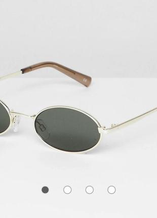 Оригинальные круглые солнцезащитные очки в золотистой оправе le specs love train