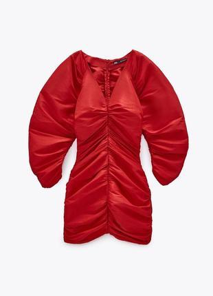 Красное платье плаття сукня zara с драппировкой мини