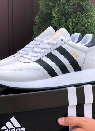 Кросівки чоловічі білі адідас / кроссовки мужские белые, замша, adidas iniki