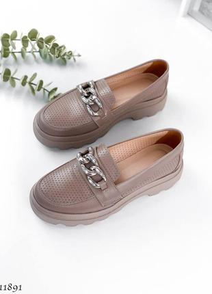Кожаные туфли лоферы женские