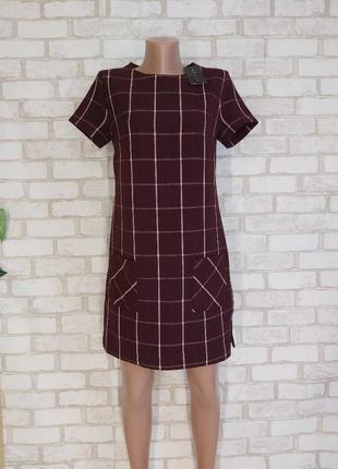 Фирменное new look нарядное платье цвета марсала в крупную клетку с карманами, размер с-м