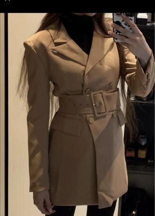 Пиджак жакет пальто-платье піджак коричневый бежевый