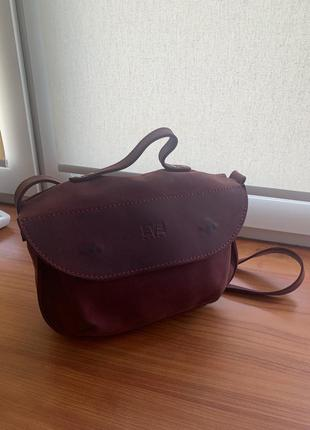 Шкіряна сумка колір марсала