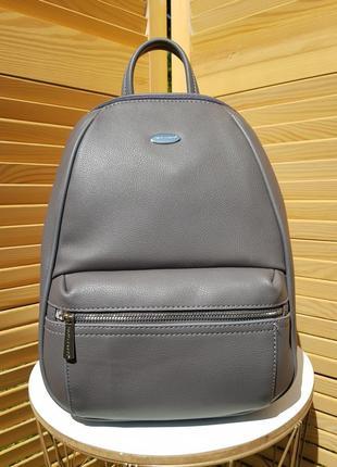 Стильный строгий серый женский рюкзак david jones #5504