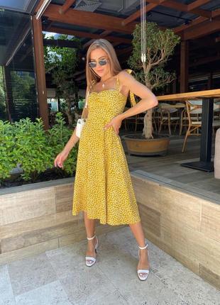 Платье летнее женское легкое длинное миди сарафан желтое