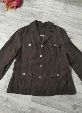 Піджак блейзер льон з накладними карманами