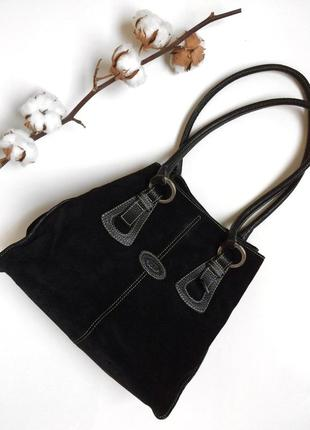 Чёрная замшевая сумка tods