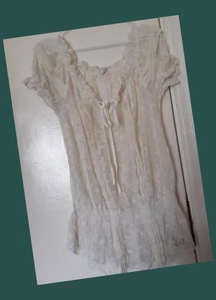 Блуза кружево вышивка прозрачная