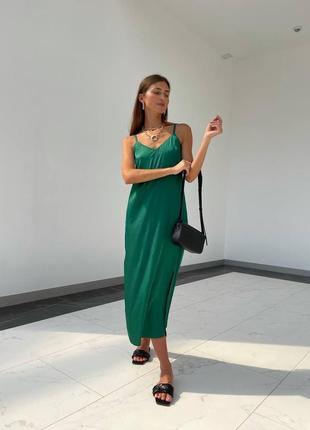 Зелёное платье комбинация миди