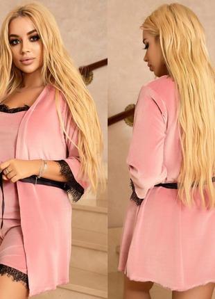 Пижама женская батал ночной комплект ночнушка халат кружевная