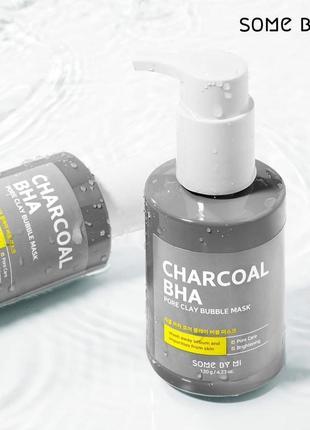 Маска-пенка от чёрных точек some by mi charcoal bha pore clay bubble mask