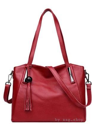 Женская кожаная практичная сумка красная с короткими ручками ремешок для плеча жіноча сумка натуральна шкіра