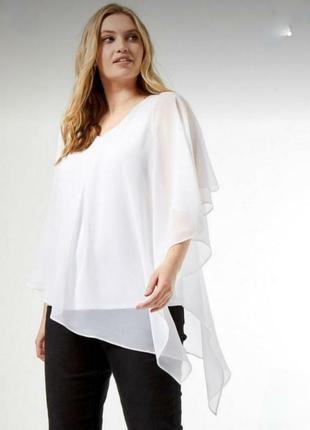 Белая блуза балахон двойная шифон и трикотаж