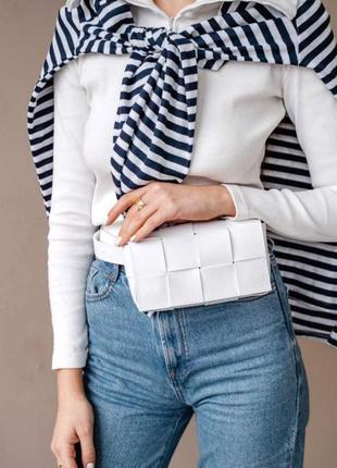 Женская молодежная сумка клатч на пояс поясная сумочка женская aliri-639-00 сумочка плетеная белая