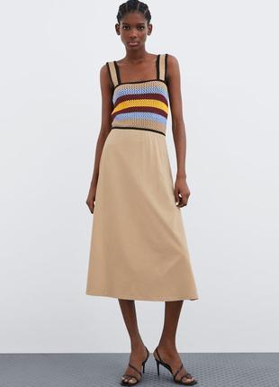 Платье миди сарафан хлопок zara сукня з натуральної тканини