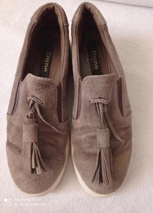 Испанские/ натуральная замша кожа/ туфли мокасины/ хаки/ dune