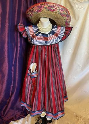 Винтажное яркое хиппи бохо этно платье миди с карманом