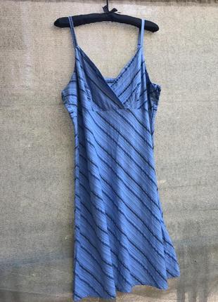 Платье хлопковое хлопок батал миди сарафан бретели на запах летнее полоска полосатое