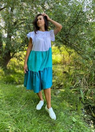 Шикарное летнее платье в длине миди