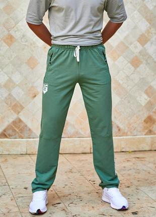 Мужские спортивные штаны tailer из трикотажа двунитка, демисезонные, размеры 46-56 (296зелёные)