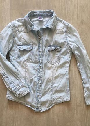 Джинсовая рубашка 128 см голубая