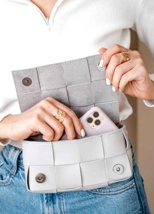 Женская молодежная сумка клатч на пояс поясная сумочка женская aliri-639-01 сумочка плетеная серая