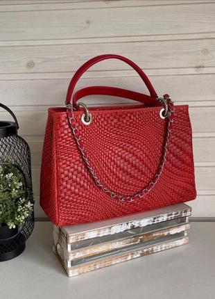 Сумка кожаная плетёная италия классическая терракотовый красный genuine leather на длинной цепочке с короткой ручке большая vera pelle италия