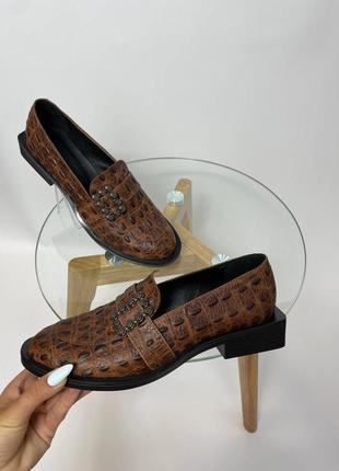 Эксклюзивные туфли из натуральной итальянской кожи рептилия крокодил