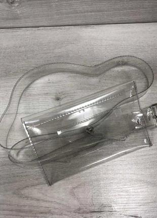 Женская прозрачная сумочка клатч летняя на пояс силиконовая aliri-991-55