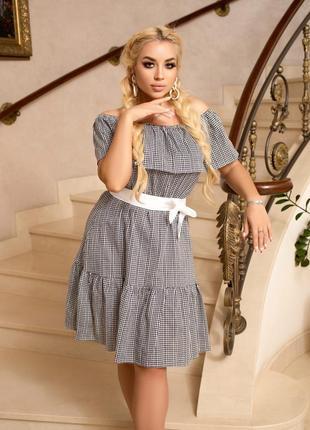 Платье женское батал короткое мини с открытыми плечами легкое летнее