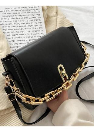 Модная черная сумка с золотистой цепочкой стильная сумочка 3057