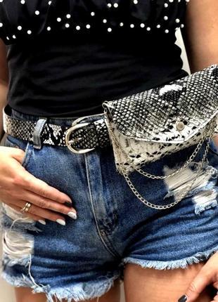 Стильная женская сумка на пояс поясная сумка женская aliri-993-01 черно-белая змея