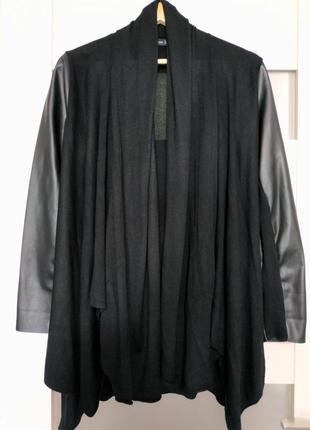 Кардиган кофта оверсайз топ черная с кожаными рукавами zara