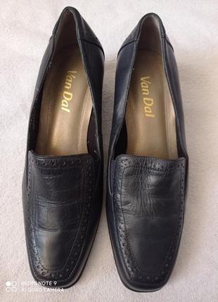 Идеальные фирменные классические практичные темно-синие туфли/ натуральная кожа 💯/ van dal