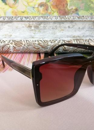 Эксклюзивные коричневые брендовые квадратные солнцезащитные женские очки 20212 фото