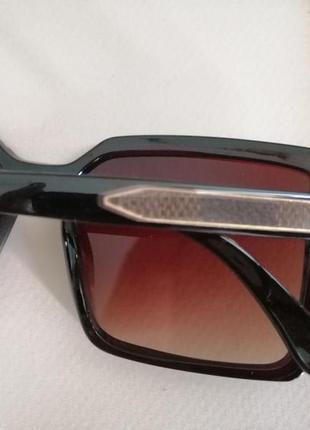 Эксклюзивные коричневые брендовые квадратные солнцезащитные женские очки 20214 фото