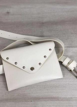 Женская модная сумка на пояс поясная сумка клатч aliri-991-02 белая