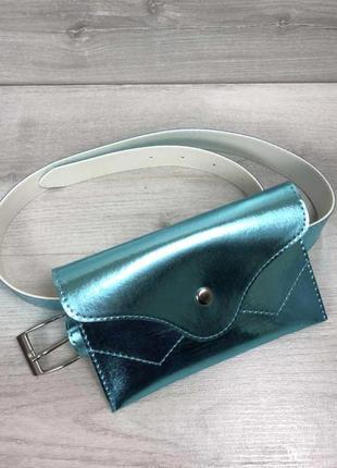 Женская поясная сумка клатч сумочка на пояс aliri-991-53 перламутр мятного цвета