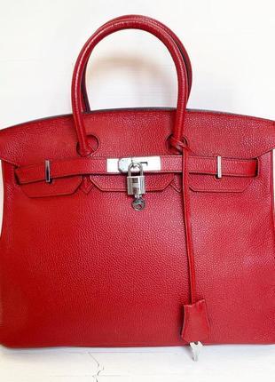 Красная кожаная классическая сумка
