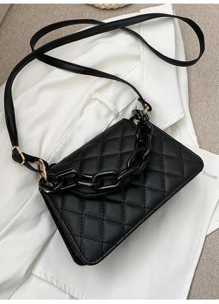 Модная черная сумка с черной цепочкой стильная сумочка 3059