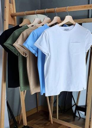 Футболка с карманом и рукавами с отворотами, футболка однотонная без рисунка (белый, черн, беж, хаки, голубой)