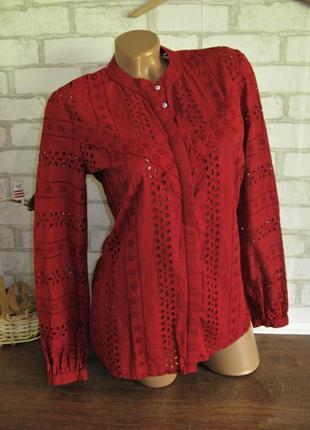 Хлопковая бордовая блузка only eur 36