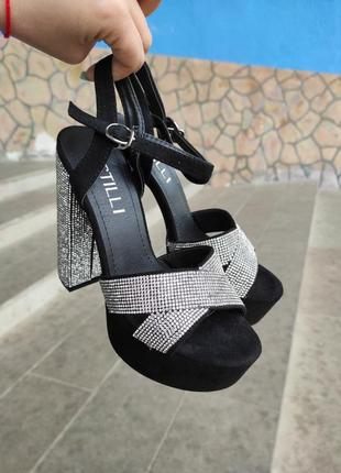 Босоножки go-go со стразами каблук 14 см