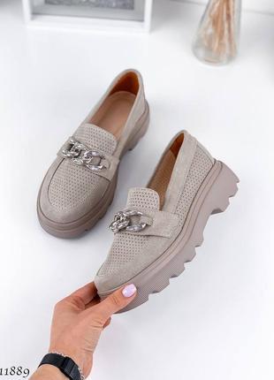 Стильные закрытые туфли лоферы, натуральная замша