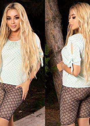 Блузка блуза женская летняя батал легкая свободная бирюзовая