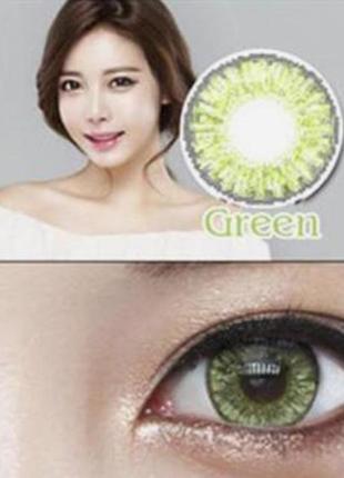 Линзы цветные для глаз, брилиант, пара, зеленые + контейнер для линз в подарок
