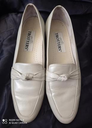 Фирменные туфли/ слоновая кость перламутр крем/ с премиум 🔥 натуральной кожи/ trotters
