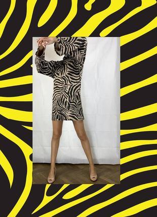 Платье объемное зебра платьице коктейльное гольф